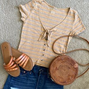 AE striped western style crop top